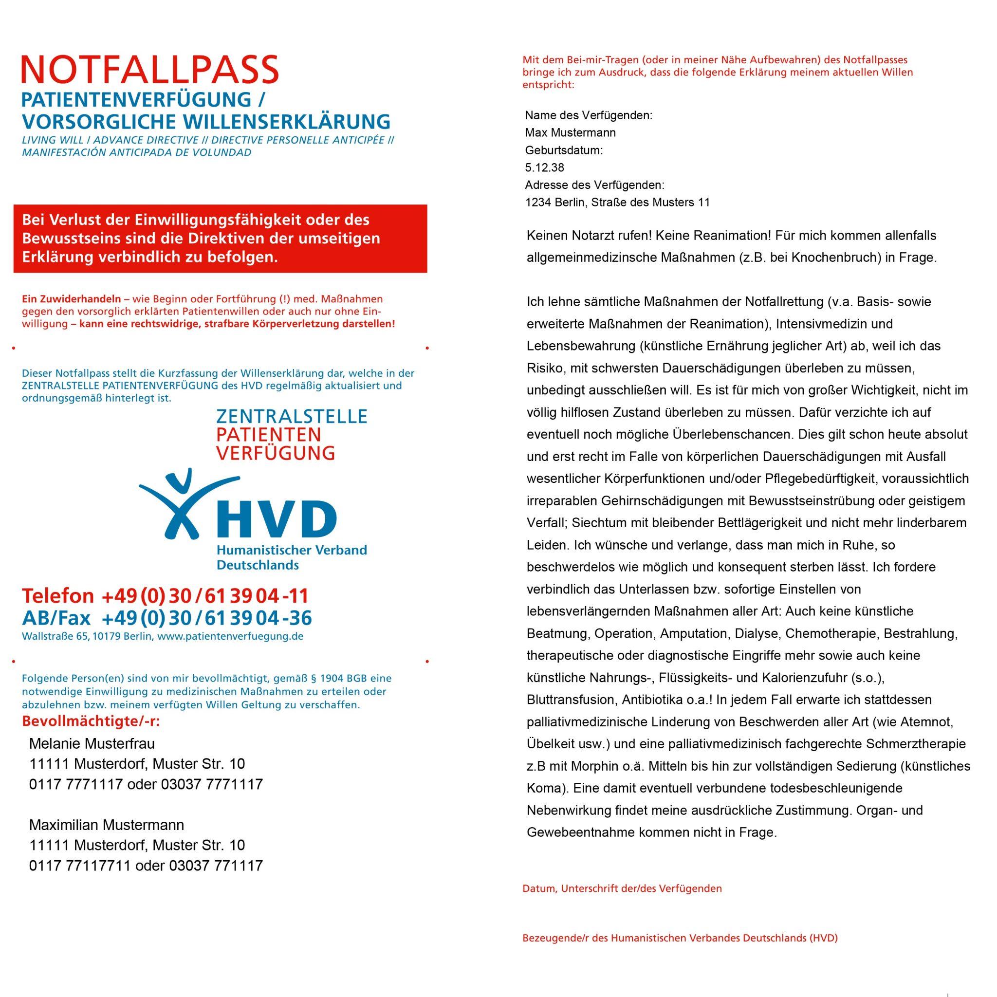 notfallpass papiermodell besser als digitale lsung hvd zentralstelle patientenverfgung - Muster Patientenverfugung