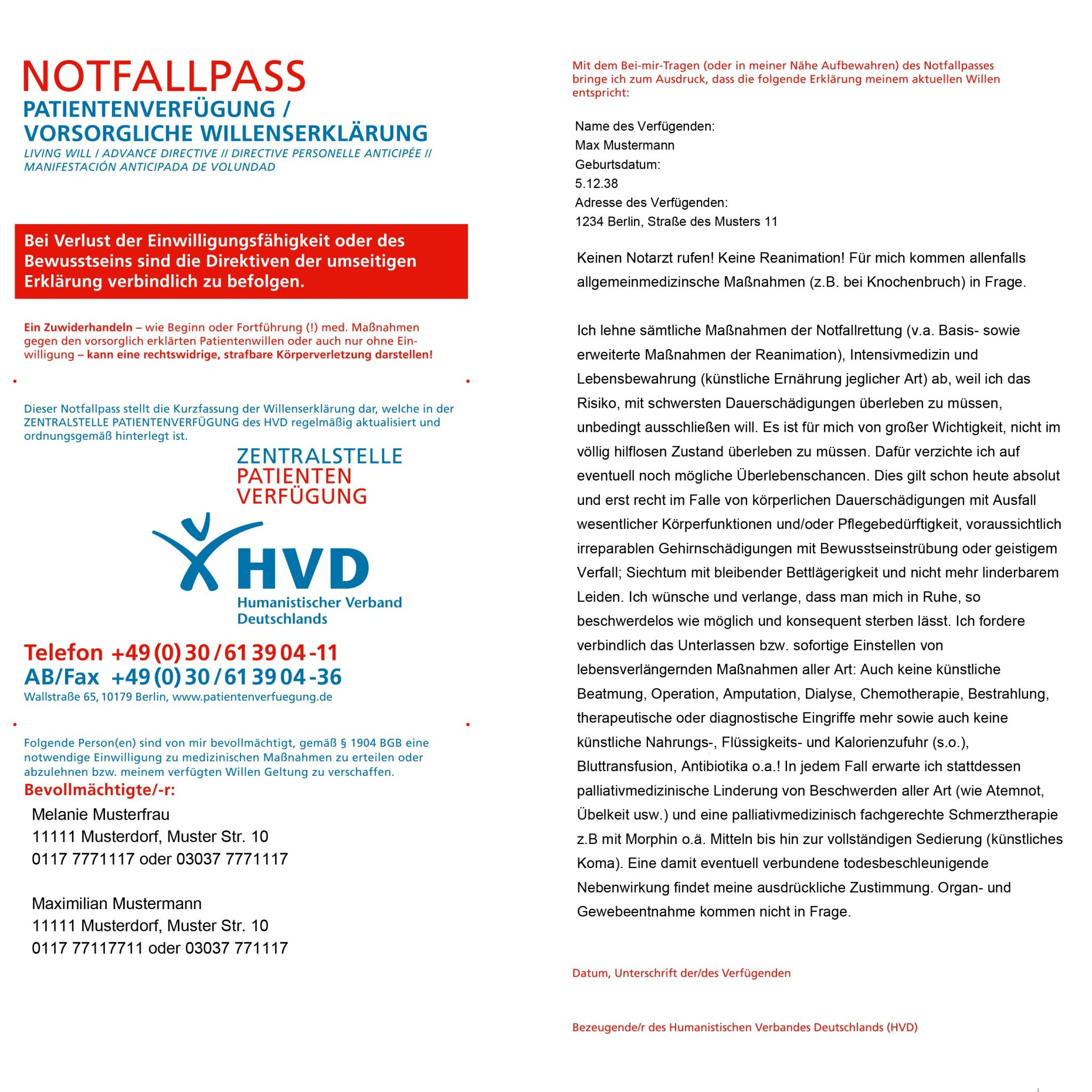 notfallpass papiermodell besser als digitale lsung hvd zentralstelle patientenverfgung - Patientenverfugung Beispiel